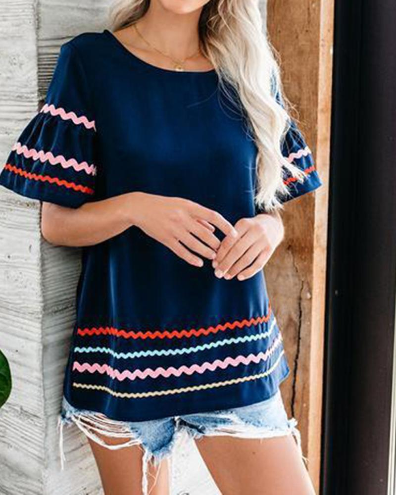 Printed Round neck lady Short-sleeve Casual shirt