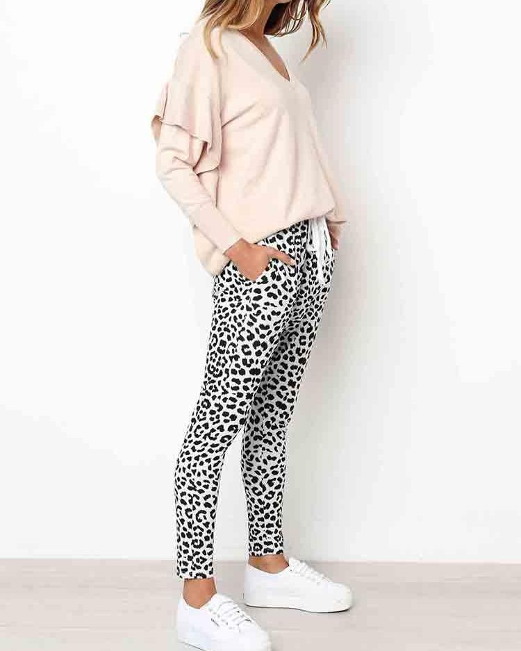 Leopard Print Pocket Design Drawstring Skinny Pants