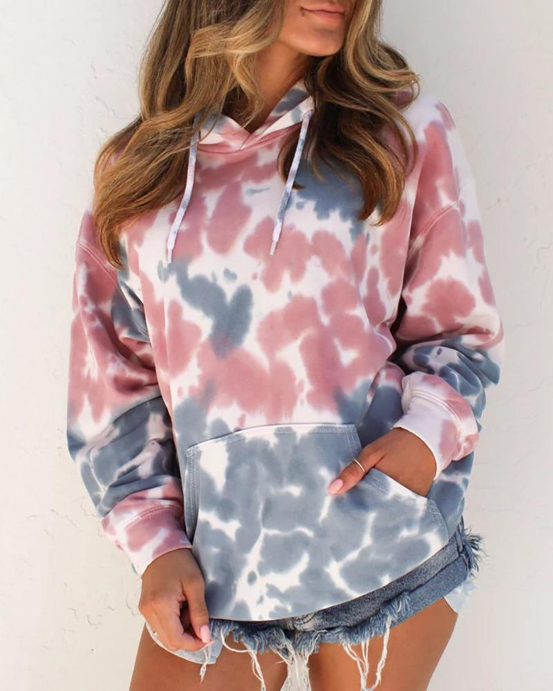 Tie Dye Long Sleeve Pocket Casual Hoodies