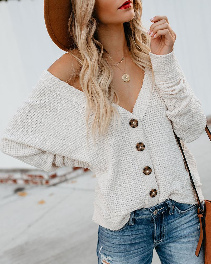 Solid Long Sleeve Buttoned Sweater