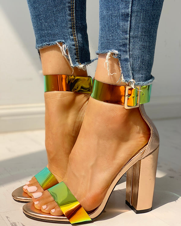 Ankle Buckled Chunky Heeled Sandals