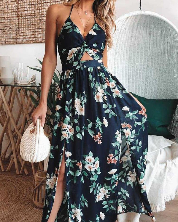 Halter Floral Print Slit Maxi Dress