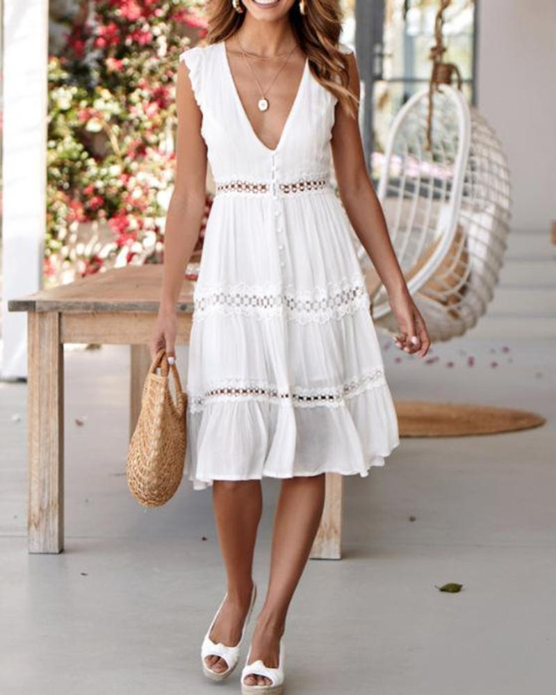 Fashion sexy V-neck lace stitching sleeveless dress