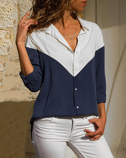 Colorblock Insert Long Sleeve Casual Shirt