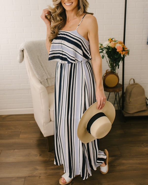 Spaghetti Strap Striped Open Back Maxi Dress