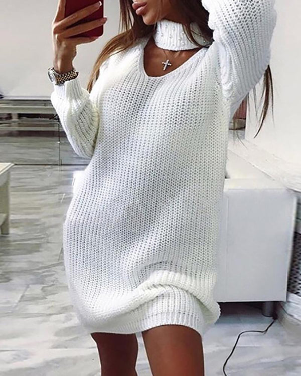 Solid High Neck Beaded Cut Out Sweater Dress