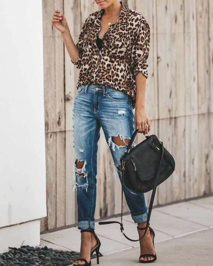 Leopard Button Half Sleeve Shirt