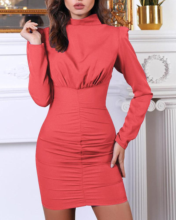 Solid High Neck Ruched Dress
