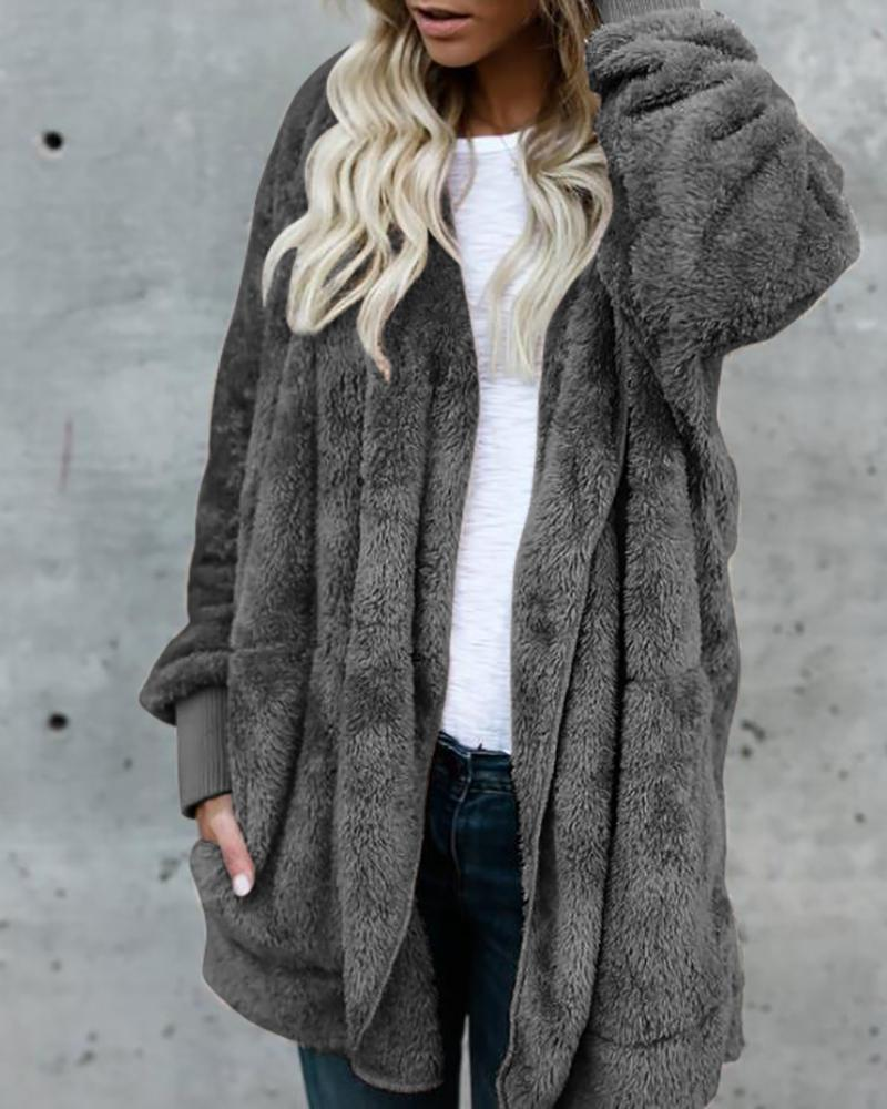 Hooded Pocket Longline Reversible Fluffy Coat