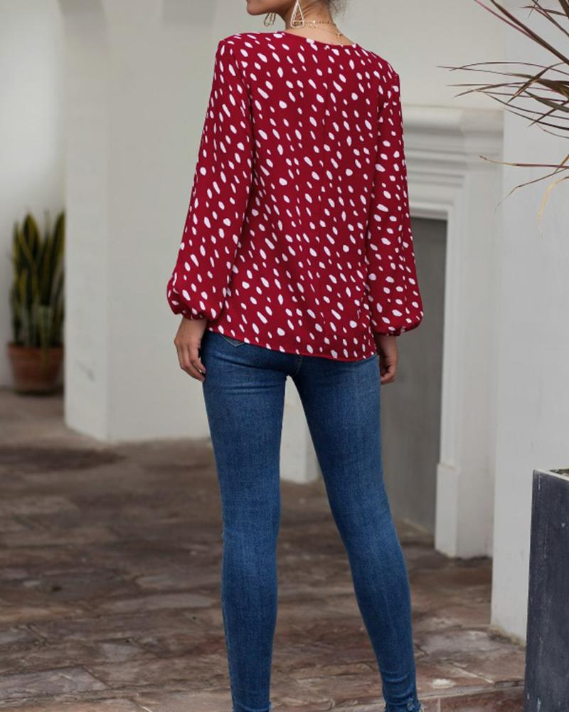 Polka Dot Belloon Sleeve V Knot Neck Blosue