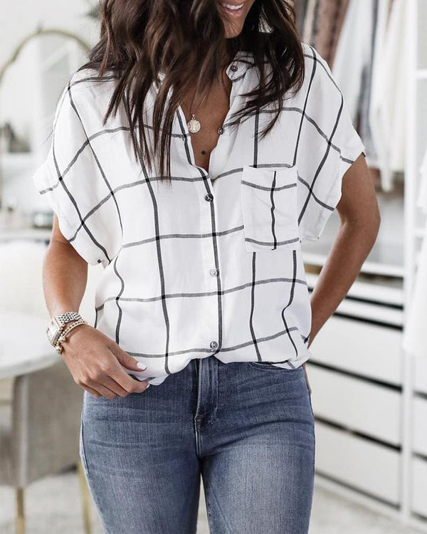 Short Sleeve Grid Print Casual Blouse
