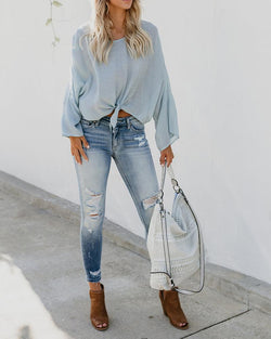 Tie Dye Knot Deep V Neck Batwing Sleeve Blouse
