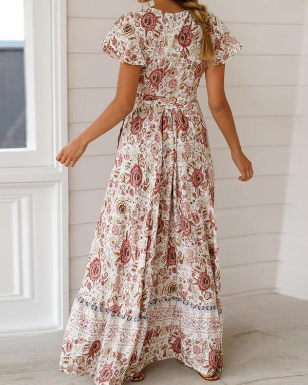 Knot Waist Floral Print Slit Dress