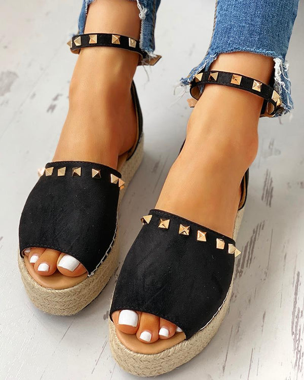 Rivet Detail Espadrille Platform Sandals
