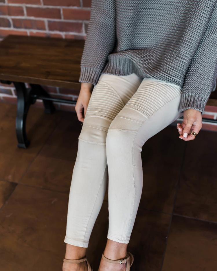 White Denim Ruched High Waist Pencil Pants