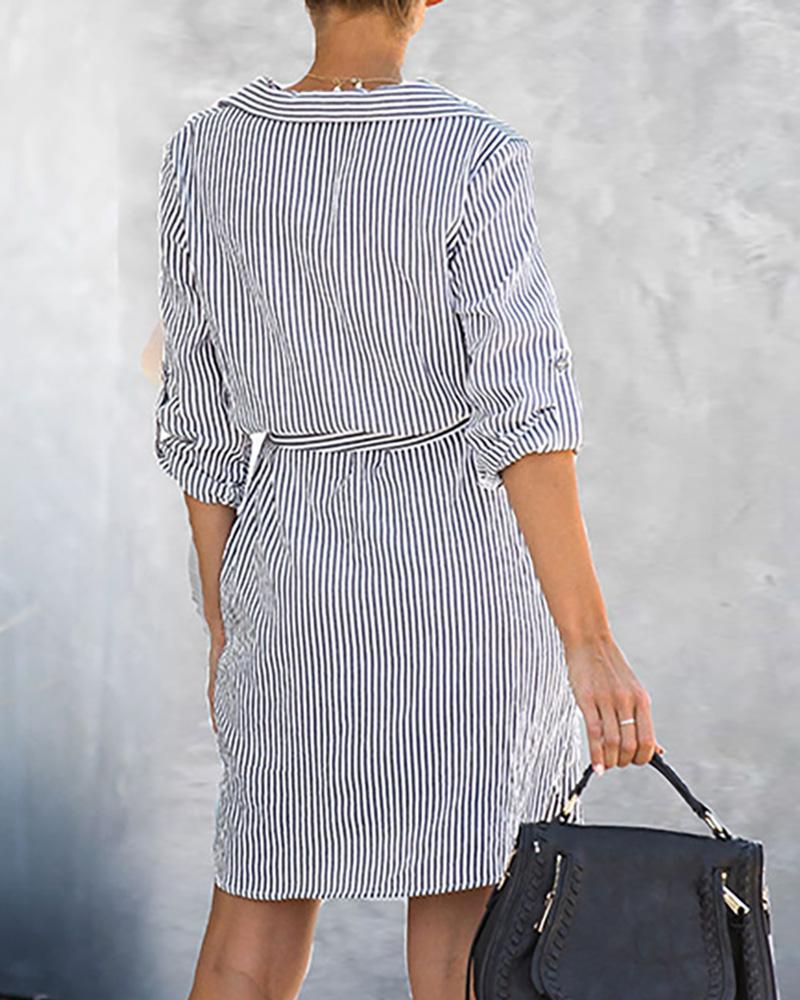 Striped Adjustable Sleeve Shirt Dress