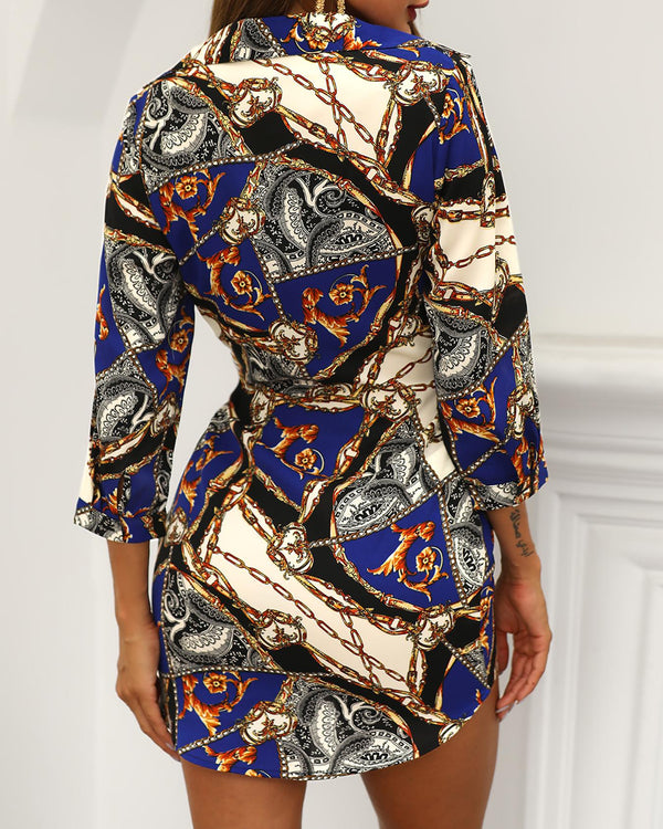 Chain Print Knotted Front Shirt Dress