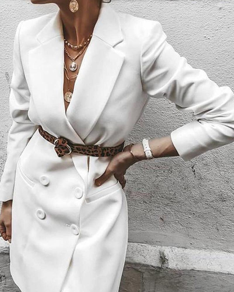 Solid V-Neck Blazer Dress