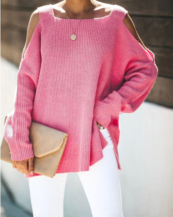 Cold Shoulder Long Sleeve Strappy Sweater
