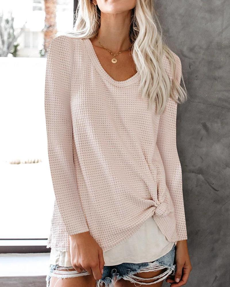 Solid Long Sleeve Waffle Knit Pullover Sweater