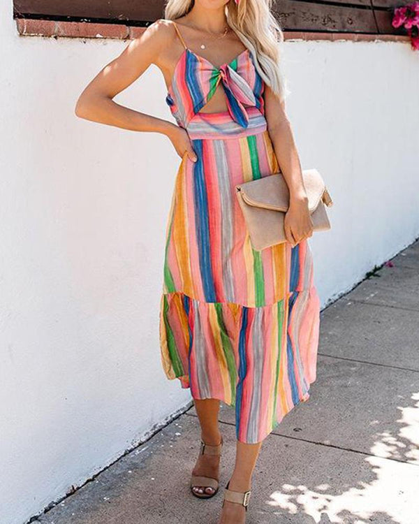 Color strip dress fashion striped strap maxi dress