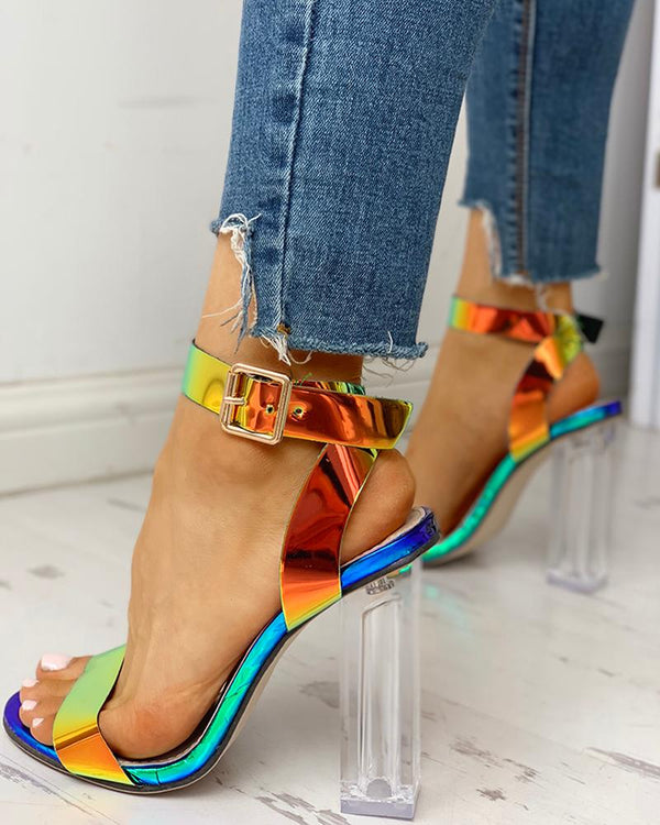 Colorful Transparent Chunky Heeled Sandals