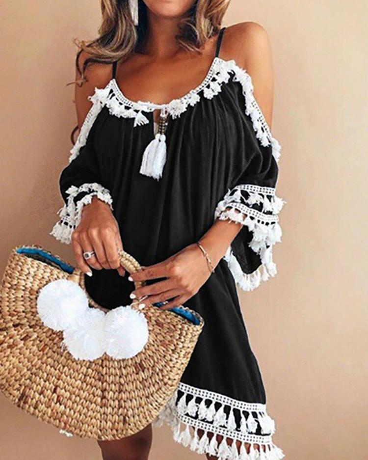 Cold Shoulder Tassel Design Casual Dress