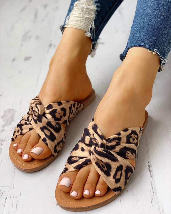 Satin Leopard Twisted Design Flat Sandals