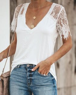 Fashion Lace Short Sleeve polyester Blouse