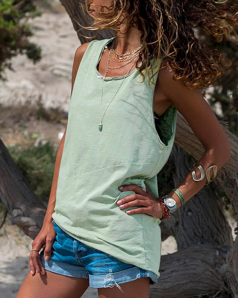 Loose Casual Sleeveless Vest Top