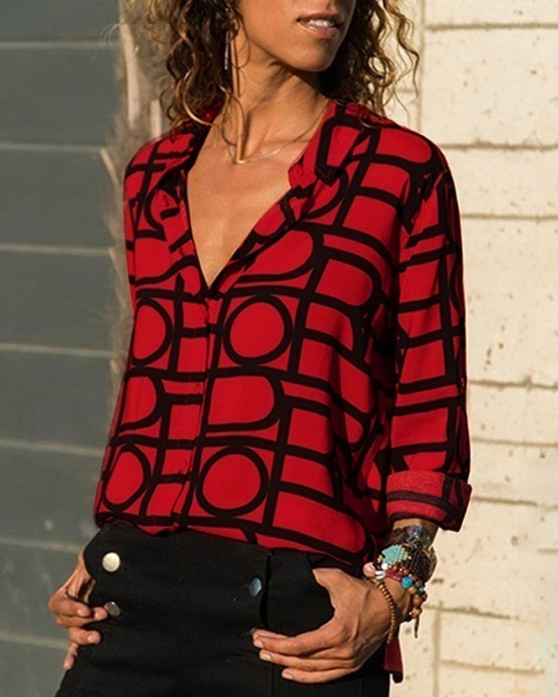 V Neck Button Design Long Sleeve Printed Shirt