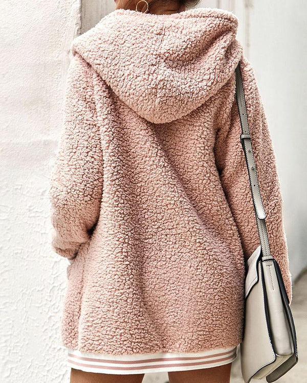 Faux Fleece Hooded Coat