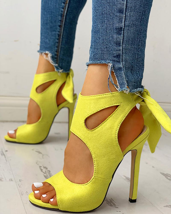Peep Toe Cutout Knotted Thin Heels