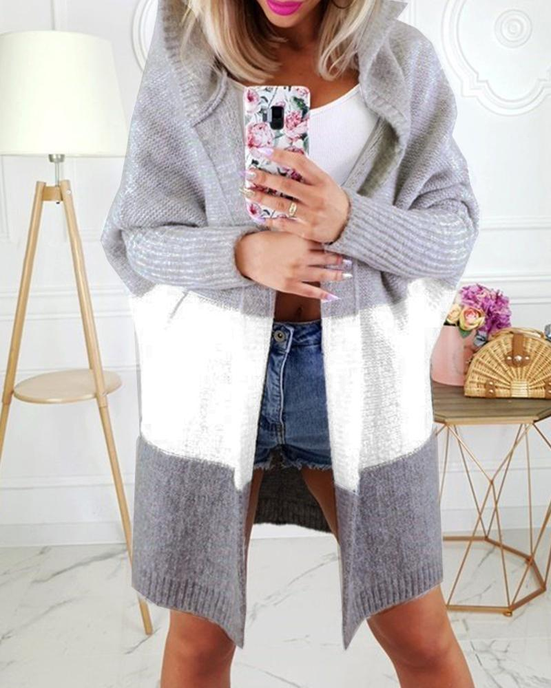 Hooded Colorblock Insert Open Front Knitting Cardigan