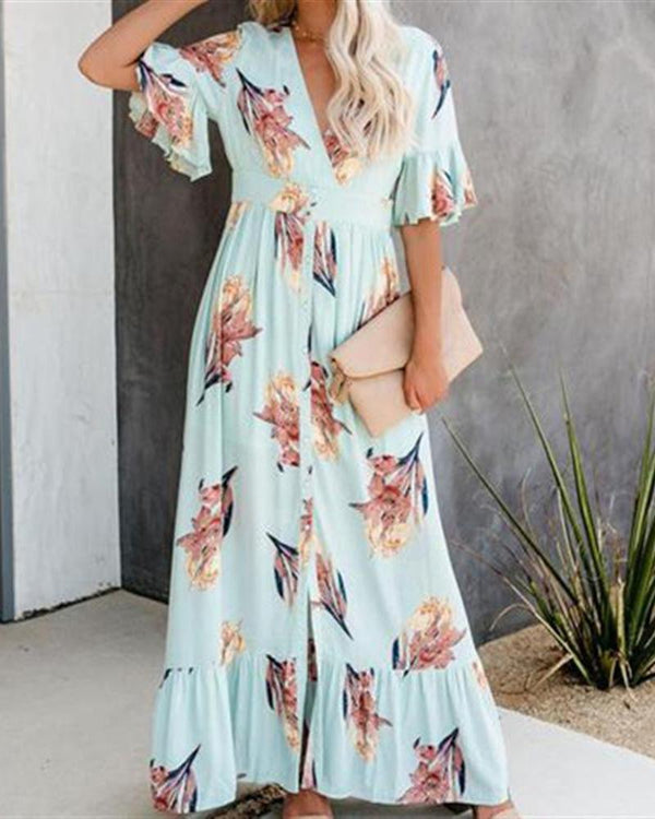 V-neck Short-sleeved Buckled Ruffled Maxi Dress