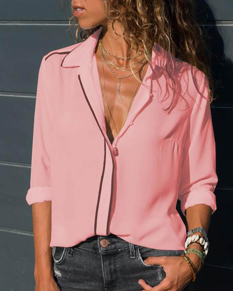 Long Sleeve Buttoned Casual Blouse