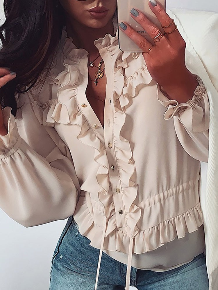 Frill Design Drawstring Casual Blouse