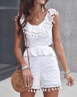 Hollow Out Lace Pom Poms Peplum Romper
