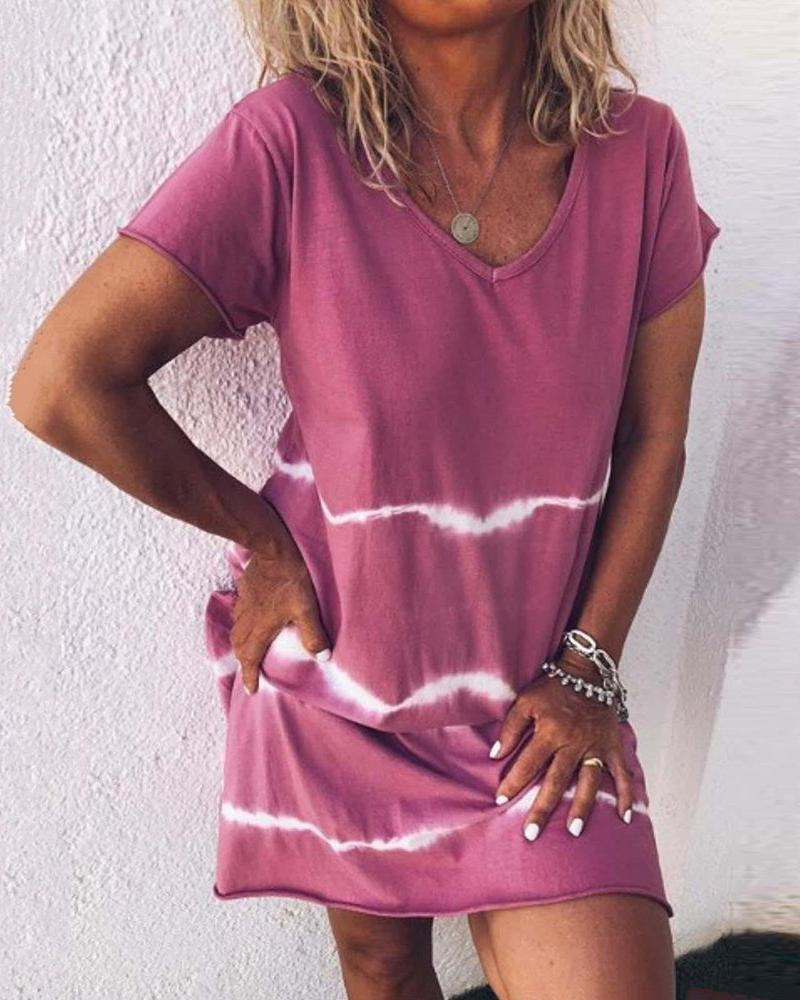 Large size contrast dress short sleeve simple V-neck print dress