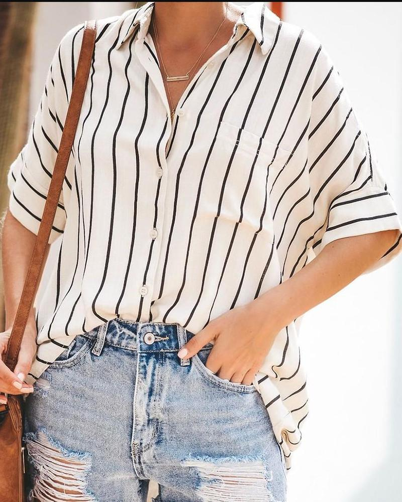 Cardigan Striped Pocket Short-sleeved Blouses
