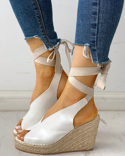 Suede Knotted Ankle Platform Wedge Sandals