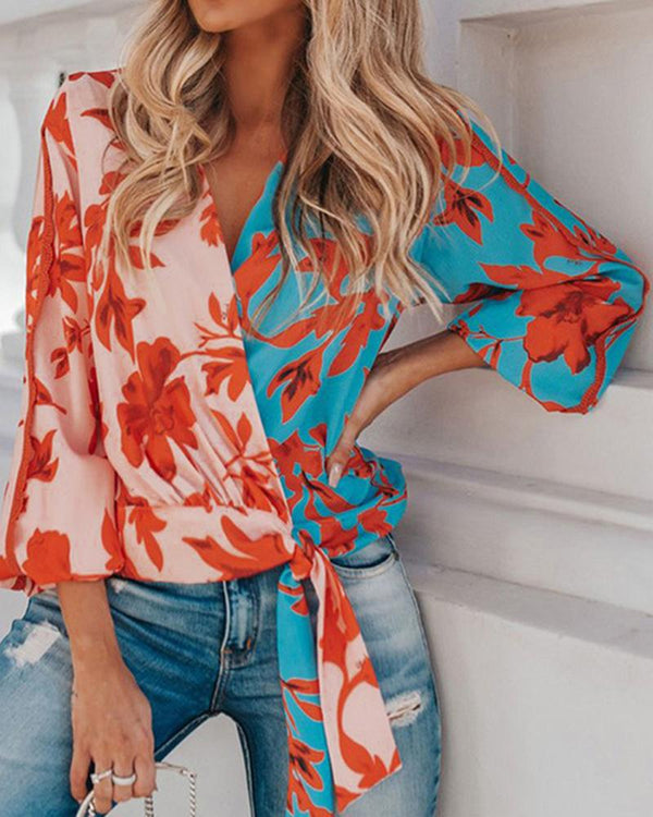 Contrast V-neck long-sleeved printed loose casual shirt