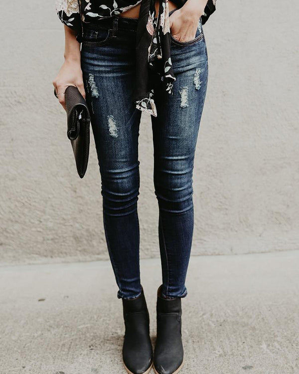 Solid Ripped Fringes Pencil Skinny Jeans