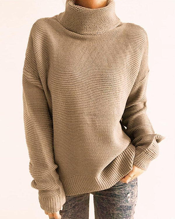 Solid High Neck Long Sleeve Knitting Sweater