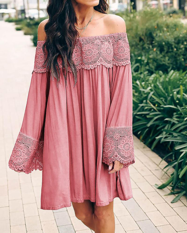 Lace Sheer Crochet Off Shoulder Casual Crop-top Skirt