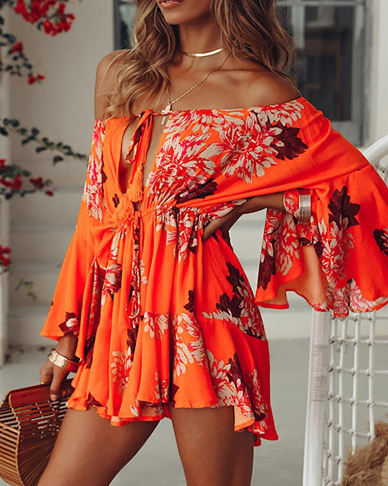 New European and American sexy style off-the-shoulder trumpet sleeve chiffon dress