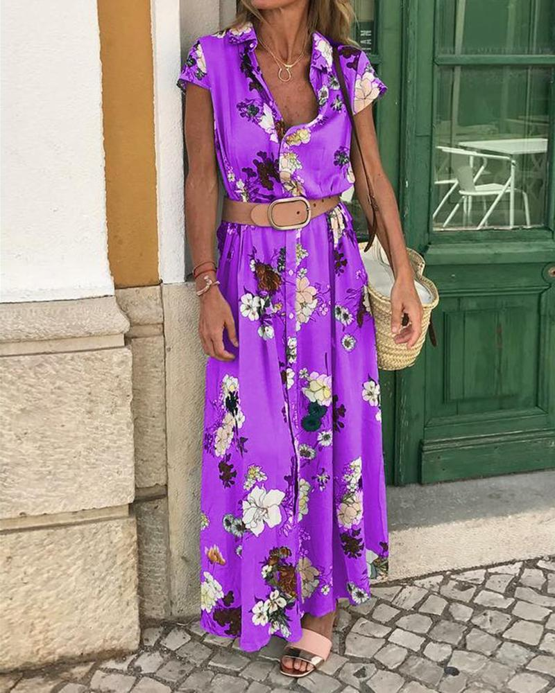 Short Sleeve Floral Print Shirt Maxi Dress