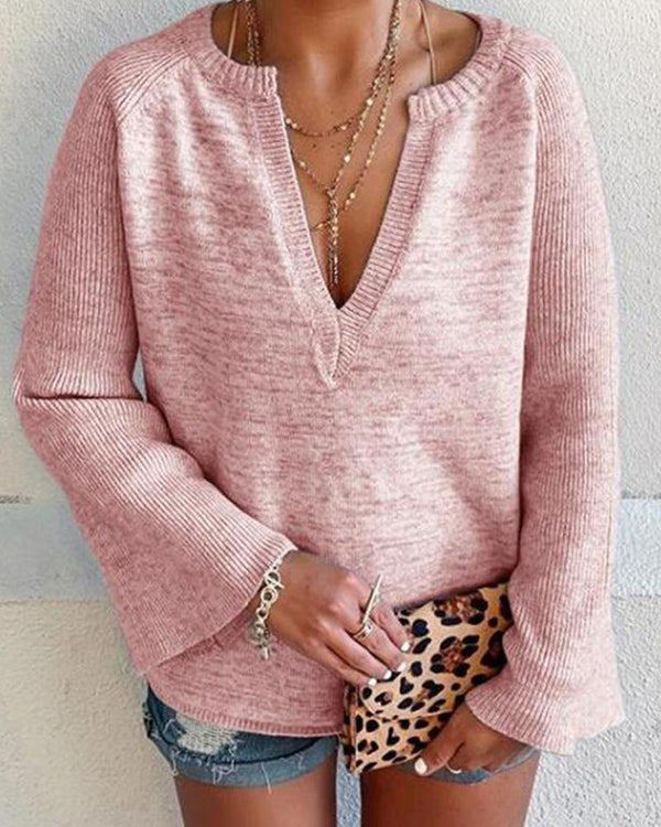 V-neck Woven Off Shoulder cotton blends long sleeves Top