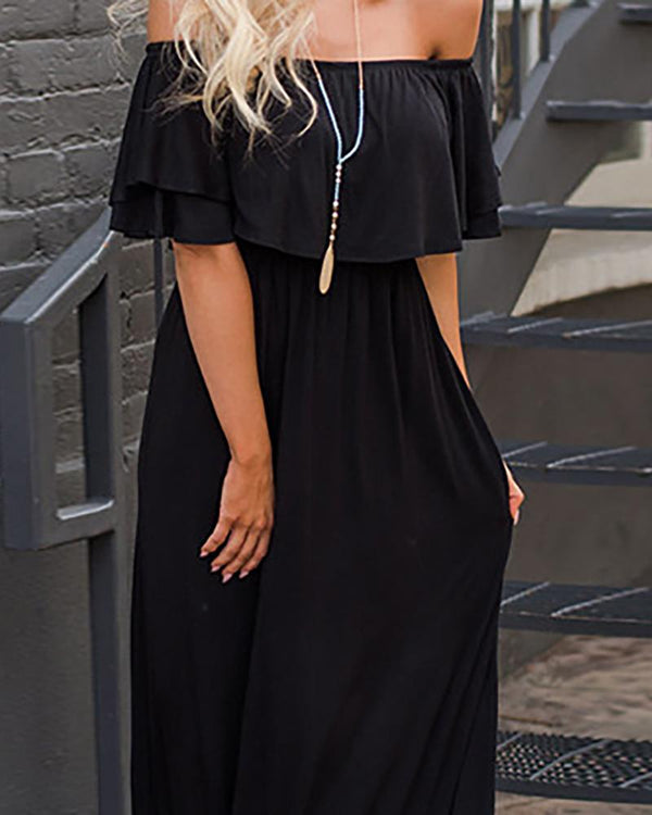 Off Shoulder Layered Ruffles Pleated Maxi Dress
