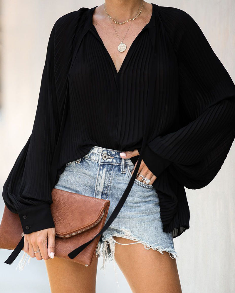 Solid V-Neck Ruched Detail Casual Blouse